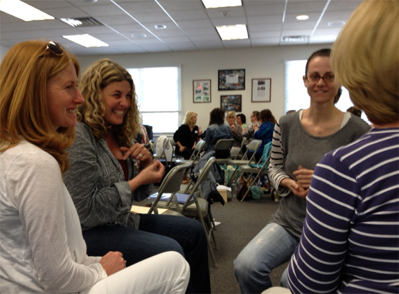 Students practice EFT tapping together in an EFT course, Newtown, CT USA